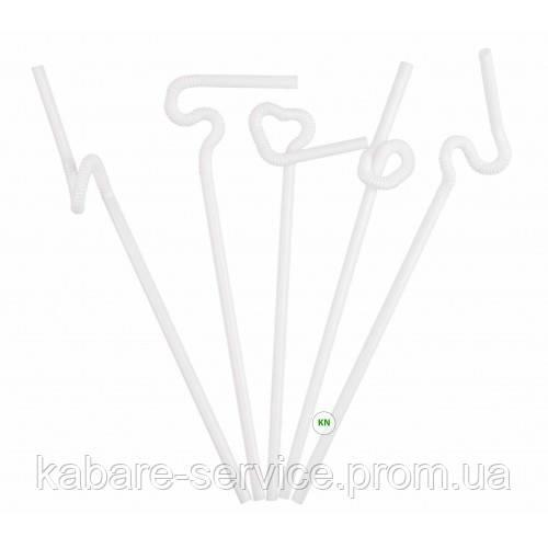 """Трубочка """"Артистик"""" (белая) 26 см 6 мм 100 шт"""