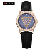 Модные черные женские кварцевые часы GAIETY,циферблат звездное небо,украшены камнями