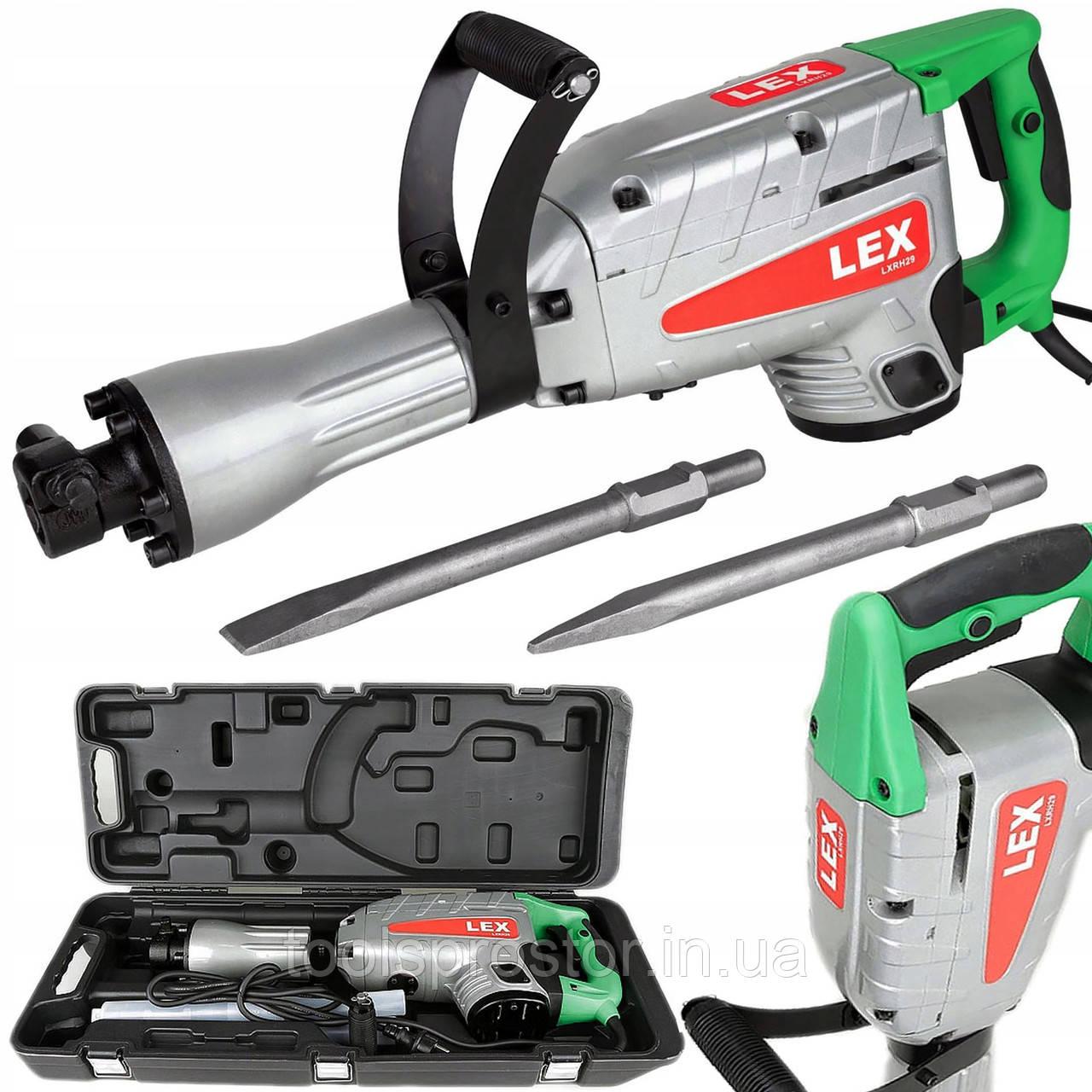 Отбойный молоток LEX LXR29 : 2900 Вт | Удар 55 Дж | Кейс + Зубило, долото в комлекте