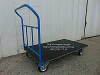 Тележка ручная платформенная с резиновым покрытием и и окантовкой резиновым уголком 1200х700мм (Цена без НДС)