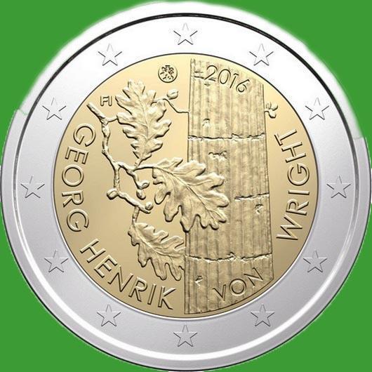 Финляндия 2 евро 2016 г. 100 лет со дня рождения философа Георга Хенрика фон Вригта . UNC.
