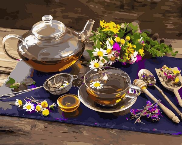 Картины по номерам 40×50 см. Травяной чай