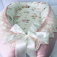 """Кокон гнездышко для новорожденных Сладкий Сон """"Нежные Розы"""" Розовый/молочный"""