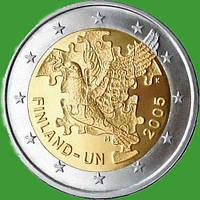 Финляндия 2 евро 2005 г. ООН . UNC.