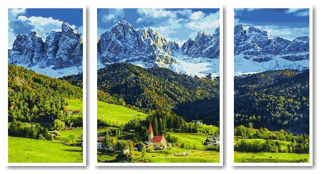 Картины по номерам 50х90 см. Триптих Церковь святой Марии ...