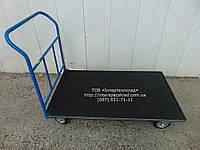 Тележка ручная платформенная с резиновым покрытием и и окантовкой резиновым уголком 1500х800мм (Цена без НДС)