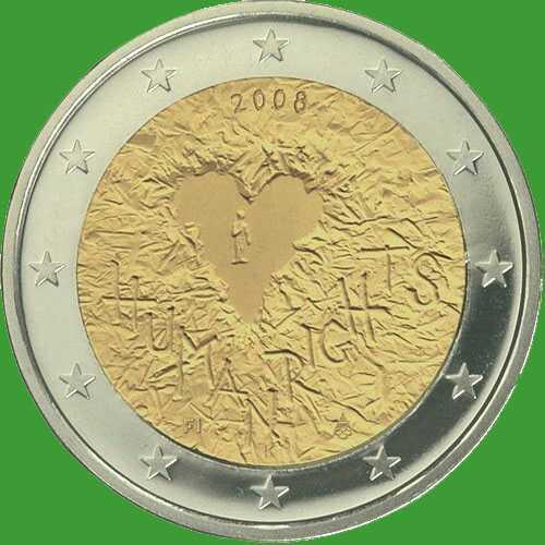 Финляндия 2 евро 2008 г. 60-летие принятия Всеобщей декларации прав человека. UNC