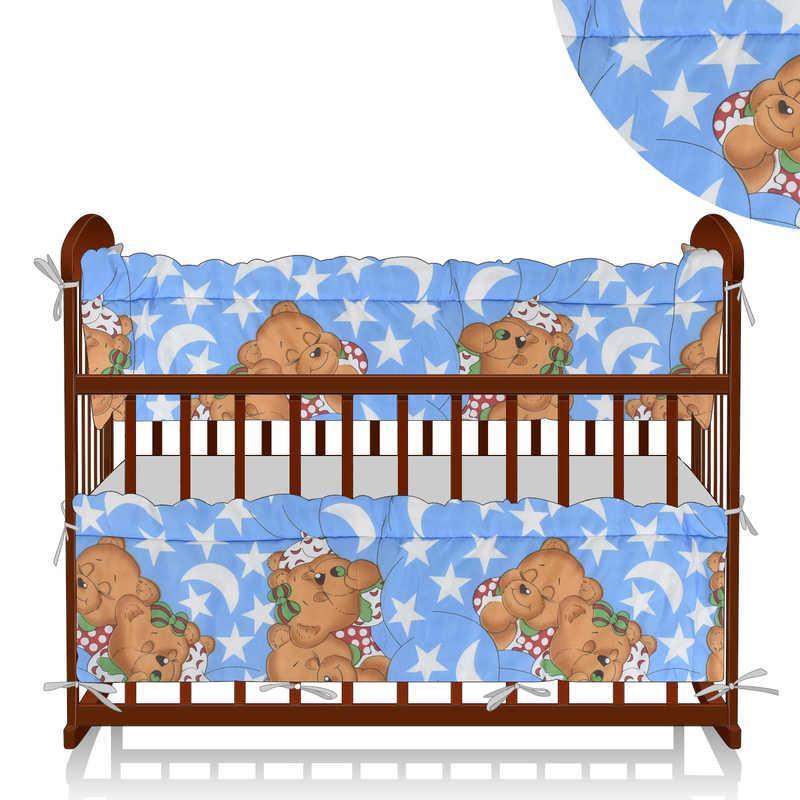 """Гр Защита в кроватку - поликоттон - """"Спящие медведи"""" цвет синий - ТМ Алекс"""