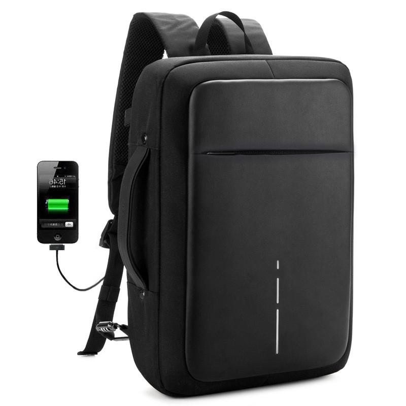 Деловой рюкзак-антивор, портфель-трансформер 2в1, с USB кабелем, кодовым замком, влагозащищенный, 15л