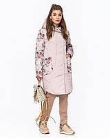 Демисезонная женская комбинированная куртка с цветочным принтом, размеры 52-58