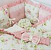 """Бортики в дитяче ліжечко """"Ніжні Троянди"""" 33х33 см. 8 шт."""