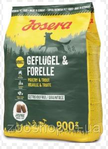 Josera Geflügel & Forelle беззерновой корм для взрослых собак с птицей и форелью 900 г