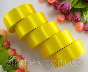 "(5 рулонов) Лента атласная 2,5см ширина (25 ярдов) ""LiaM"" Цена за блок Цвет - Желтый"