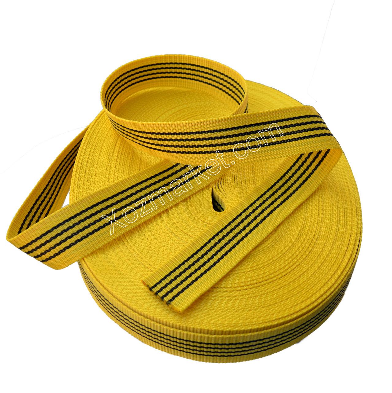 Стрічка 40 мм*50 м жовта буксирувальна (Стрічка для буксирування авто) (жовта)