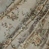 Декоративная плотная ткань гобелен розы коричневые