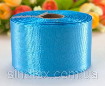 "Лента атласная 4см ширина (25 ярдов) ""LiaM"" Цена за рулон. Цвет - Голубой"