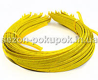 Обруч для волос обмотанный атласной лентой  (5мм металлический).Цена за 50 шт. Цвет - ярко желтый