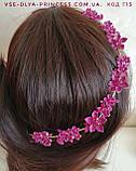 Веточка веночек в прическу тиара гребень ободок, под золото малиновая, розовая, зеленая, фото 7
