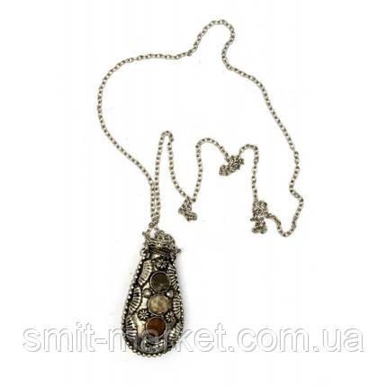 """Аромакулон бронзовый с камнями """"Лист"""" (6х3х2 см), фото 2"""