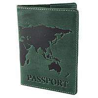 """Обкладинка шкіряна на закордонний паспорт """"Карта"""" (зелена)"""