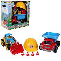 Трактор с ковшом+ машина самосвал+ шлем для строителя