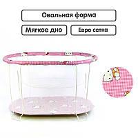 "Гр Манеж евро №7 ""Hello Kitty"" цвет розовый (1) овальный, мягкое дно, евро сетка"