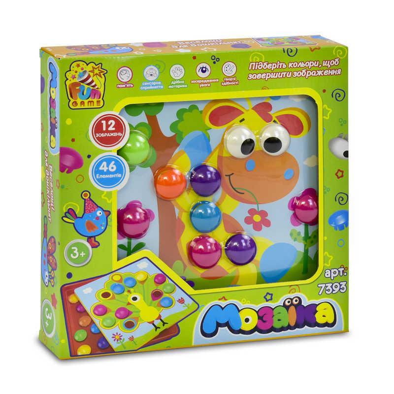 """Гр Мозаика 7393 (8) """"FUN GAME"""", 12 платформ с рисунками, 46 элементов, в коробке"""