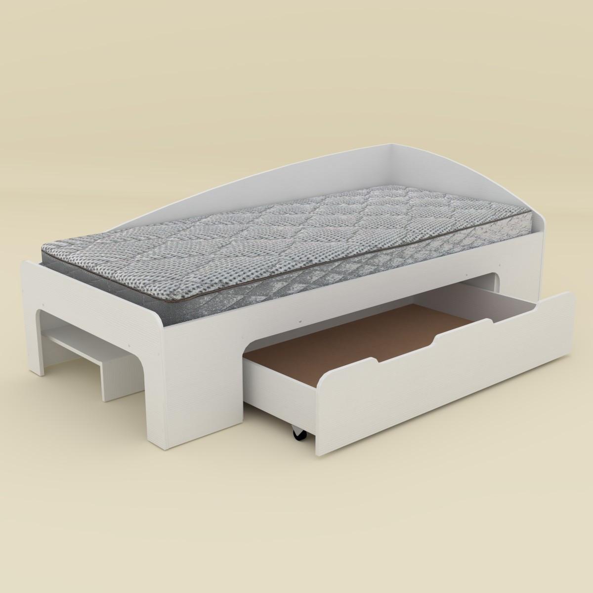 Одноместная кровать Компанит 90+1, с выкатным ящиком,  дсп