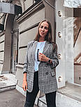 Женский стильный удлиненный пиджак в клетку с подкладкой, фото 2