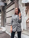 Женский стильный удлиненный пиджак в клетку с подкладкой, фото 3