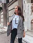 Женский стильный удлиненный пиджак в клетку с подкладкой, фото 4