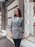 Женский стильный удлиненный пиджак в клетку с подкладкой, фото 5