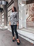 Женский стильный удлиненный пиджак в клетку с подкладкой, фото 6