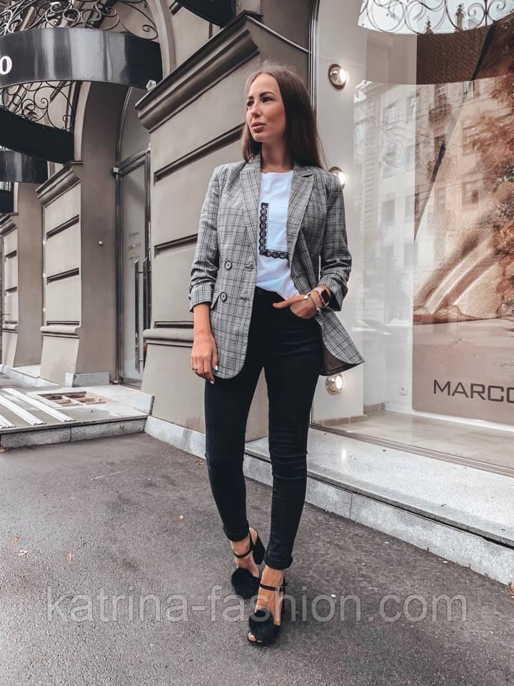 Женский стильный удлиненный пиджак в клетку с подкладкой