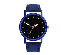 Синие кварцевые женские часики,циферблат звездное небо