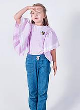 Модная розовая летняя блуза с рукавом крылышко р.134-158