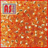 №08289  - 50 грамм (Бисер Preciosa круглый 10/0  Оранжевы Прозрачный с серебряной линией )