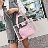 Прозрачная розовая сумка c надписью и косметичкой