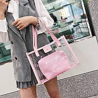 Прозрачная розовая сумка c надписью и косметичкой, фото 1