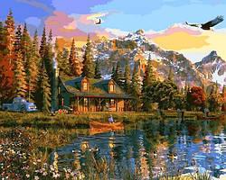 Картинa по номерам 40×50 см. Старая бревенчатая хижина в горах Художник Доминик Дэвисон