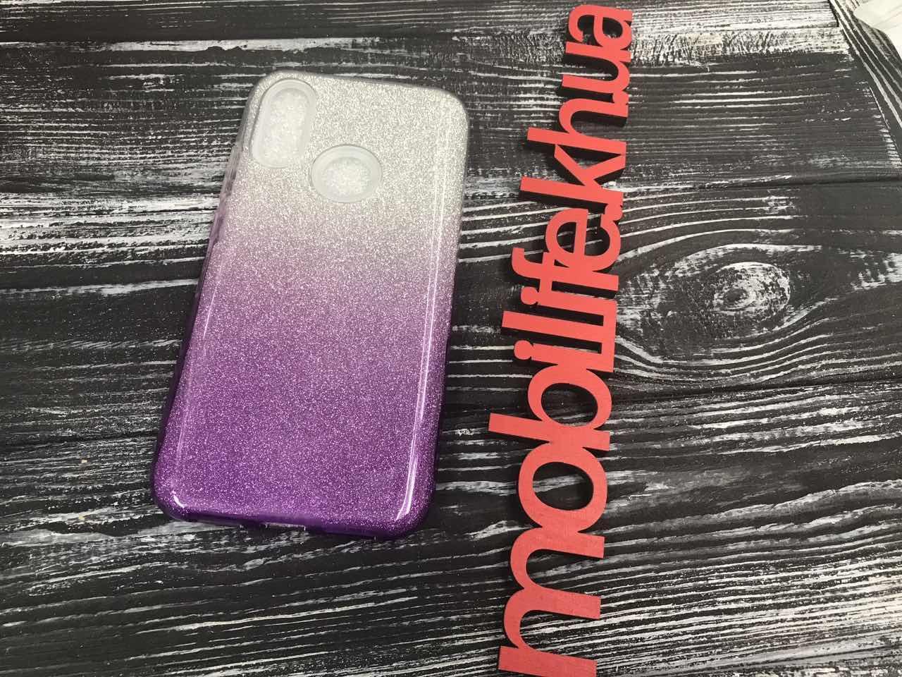 Чохол силіконовий Xiaomi Redmi 7 Блискітки З Фіолетовим