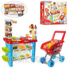 Дитячий Супермаркет з візком, продукти, каса, прилавок 75 см, гроші, 668-22