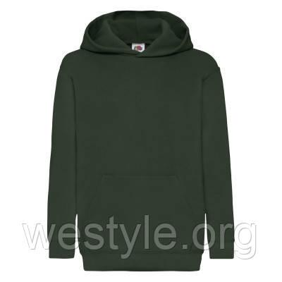 Толстовка на флисе с двойным капюшоном детская - 62043-38 темно-зеленая