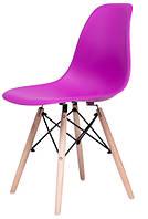 Стул Жаклин (пластиковый Фиолетовый с деревянными ногами)