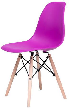 Стул Жаклин (пластиковый Фиолетовый с деревянными ногами), фото 2