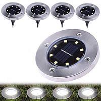 Светильник на солнечных батареях Disk lights, комплект уличных фонарей 4 шт, фото 1