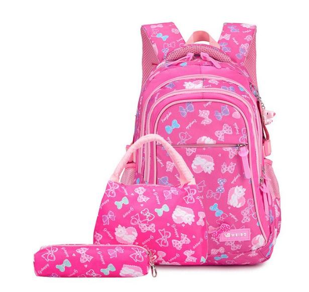 Рюкзак детский школьный Набор 3 в 1 для девочки 3 цвета. Рисунок бантики с кошечками. Розовый.