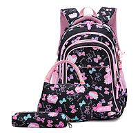 Рюкзак детский школьный Набор 3 в 1 для девочки 3 цвета. Рисунок бантики с кошечками. Черный., фото 1