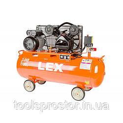 Компрессор с ресивером LEX LXC100 : 100 литров - 2.8 кВт | Чугунный блок (поршневый масляный)
