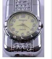 Зажигалка карманная с часами №3922 Серебро